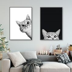 Canvas Prints Painting Nordic Style Lovely Black White Cats Posters Wall Art Animals Modular Pictures For Living Room Home Decor - single piece wall canvas - Living Room Pictures, Wall Art Pictures, Painting Pictures, Canvas Wall Art, Wall Art Prints, Canvas Prints, Black Canvas Paintings, Painting Canvas, Painting Prints