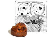 Muffins met bosbessen (of eigenlijk natuurlijk blauwebessen), in mijn uitvoering zowaar 'gezond' (pardon: healthy) en 'suikervrij.