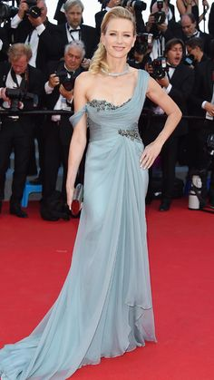 The Best of the 2014 Cannes Film Festival Red Carpet - Naomi Watts from #InStyle Watts stunned in a backless Marchesa gown in a dusty blue hue.