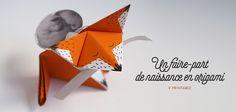 Faire-part naissance origami renard à imprimer