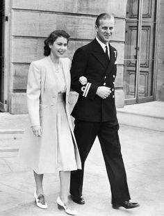 Princess Elizabeth and Lieutenant Philip Mountbatten pictured for the first time after the announcement of their engagement, July 1947. From Central Press/Hulton Archive/Getty Images.