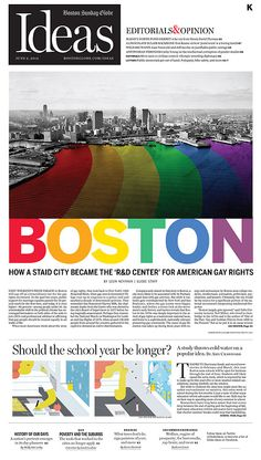 "I love this design! It uses a stereotypical black and white picture of Boston Harbor, but with a twist. It creates the water to have to rainbow stripe effect, with the colors continuing onto the word ""Boston."""