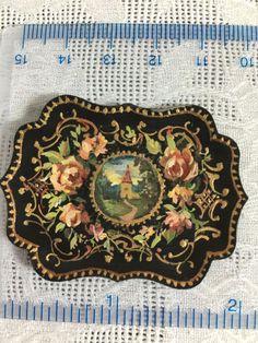 Natasha Dollhouse Miniature Tole Tray Signed Artisan - Hand painted tole tray Z