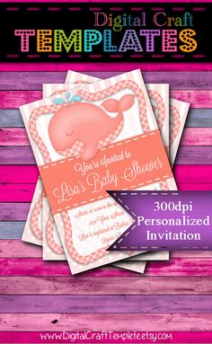 Personalized Printable Invitations | Orange Whale | Baby Shower | Birth Announcement |  #320