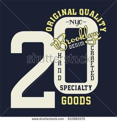 Design letters and numbers original quality brooklyn for t-shirts