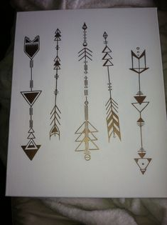 Geometric arrows on canvas by Lauren Elizabeth. Would be amazing translated to ink.