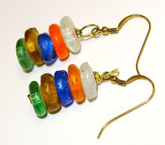 African bead earrings colorful handmade recycled by FIPDesigns