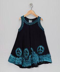 1cf6462c68de India Boutique Black   Turquoise Peace Sign Dress - Toddler   Girls
