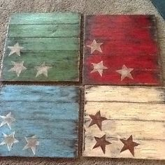 Crackle paint stars on plank boards... Would be great to hang on the wall for the Fourth of July!