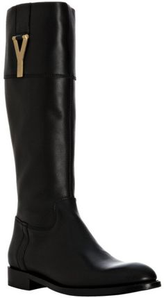 Saint Laurent Black Black Leather Chyc 15 Tall Boots