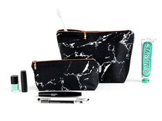 MARBLE bag // white marble makeup bag pouch case by rennadeluxe