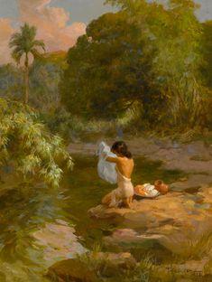 Bonhams : Fernando Amorsolo Y Cueto Lavandera Filipino Art, Filipino Culture, Parrot Painting, Philippine Art, Picture Composition, Indian Artist, Abstract Canvas Art, Botanical Drawings, Vintage Artwork