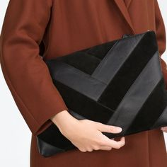 COMBINED LEATHER CLUTCH from Zara