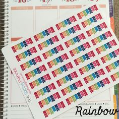 Rainbow Day Off Banner Stickers for Erin Condren Life Planner/Happy Planner - set of 32