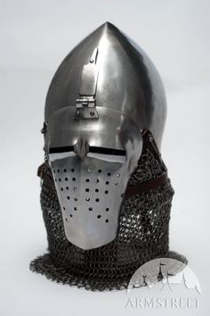 MEDIEVAL ITALIAN NARROW FACE BASCINET HELMET COLD-ROLLED 14 ga STEEL