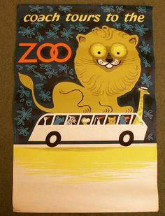 Vintange, amazing poster for British travel by bus, by Daphne Padden.