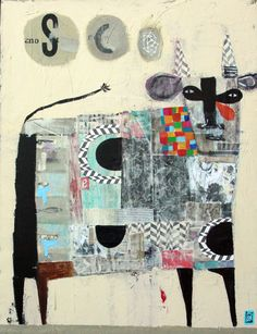 Multi Color Bull    18''x24'',  by Nathaniel Mather    Mixed Media on canvas