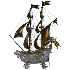 24k Antique Silver Neff/Galleon Import Marks 1913 Berthold Muller | From a unique collection of antique and modern sculptures at https://www.1stdibs.com/furniture/decorative-objects/sculptures/