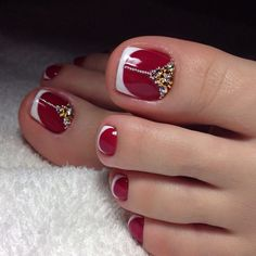French pedicure designs toes beautiful Ideas for 2019 Pedicure Nail Designs, Pedicure Nail Art, Toe Nail Designs, Toe Nail Art, Pedicure Ideas, Acrylic Nails, Red Pedicure, Gel Nail, Coffin Nails