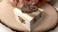 burlap and lace wedding ring box rustic ring by RedHeartCreations