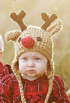 Baby Hat - Reindeer Hat - Baby Reindeer Hat - 3 - 6  months  Cute and Soft Earflap - by JoJosBootique