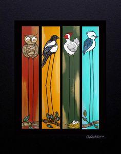 Items similar to Art Print Lofty Birds Long leg birds image matted by April Lacheur-owl, magpie, hen, kookaburra on Etsy - Malerei Fence Art, Fence Board Crafts, Yard Art Crafts, Pallet Art, Diy Canvas Art, Whimsical Art, Bird Art, Painting Inspiration, Painting & Drawing
