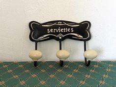 Vintage towel rack kitchen hooks cat lover gift serviettes