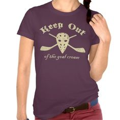 Hockey Goalie Goal Crease T-shirt.  Women's American Apparel super soft t-shirt! For many more #hockey t-shirts, please check out my store: http://www.zazzle.com/gamefacegear*/ #HockeyTShirts
