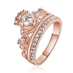 18k gold diamond crown shape ring! Comes in pink gold and gold at $13.99