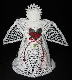 Blanco crochet ángel de cristal - decoración del hogar