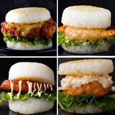 Featuring Teriyaki Salmon Burger, Shrimp Katsu Rice Burger, Shrimp Tempura Rice Burger and Japanese-Style Fried Chicken Rice Burger Sushi Sandwich, Sushi Burger, Rice Burger Recipe, Burger Recipes, Shrimp Burger, Salmon Burgers, Asian Recipes, Healthy Recipes, Ethnic Recipes