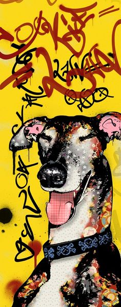 Graffiti Greyhound Pop Art Print Dog Art Whippet by PopDogDesigns, $20.00