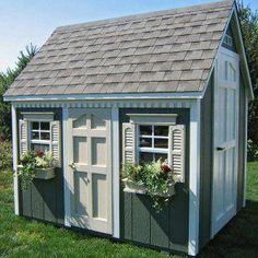 Suncast HomePlace 6 x 8 Foot Backyard Cottage Playhouse - Outdoor Playhouses at Hayneedle Outside Playhouse, Playhouse Kits, Backyard Playhouse, Build A Playhouse, Outdoor Playhouses, Modern Playhouse, Big Backyard, Cubby Houses, Play Houses
