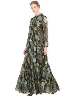 LARUSMIANI LEAVES PRINTED SILK DRESS, GREEN. #larusmiani #cloth #long dresses