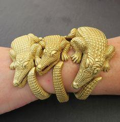 Gotta catch 'em all! Kieselstein-Cord Alligator cuffs in 18k #vintagejewelry #kieselsteincord #finejewelry
