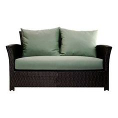 """Indoor/outdoor loveseat with Sunbrella cushions.   Product: LoveseatConstruction Material: Polyethelene, powder coated aluminum and SunbrellaColor: Black and greenDimensions: 30"""" H x 53"""" W x 34"""" DCleaning and Care: Frame can be cleaned with a mild detergen and water. Upholstery can be machine washed and air dried."""