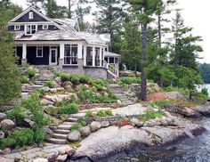 Muskoka lakeside cottage Talk of the House - Cottage Life Today Waterfront Cottage, Lakeside Cottage, Lake Cottage, Waterfront Homes, Coastal Cottage, Lakeside Lodge, Coastal Homes, Lake Cabins, Cabins And Cottages