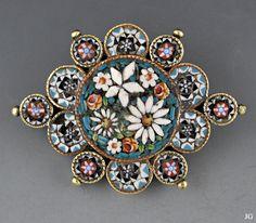 Antique Italian Micro-Mosaic Brass Pin/Brooch 1800s