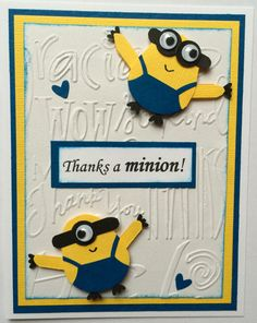 Thank you Despicable Me and Despicable Me 2 for bringing us Minions!! This fun thank you card features a one-eyed and a two-eyed minion on the
