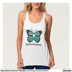 Myasthenia Gravis Teal Butterfly Awareness Ribbon Flowy Racerback Tank Top