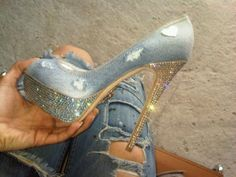 Denim Stilettos with awesome sparkle! Reminds me of Brittany in that outfit with her and JT back in the day! Stilettos, Stiletto Heels, Denim Heels, Jeans With Heels, Christian Louboutin, Cute Shoes, Me Too Shoes, Awesome Shoes, Bobbies Shoes