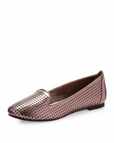 Nicki Perforated Flat, Pewter by Jay Litvack at Neiman Marcus Last Call.