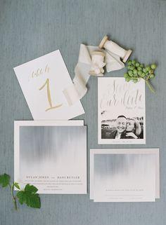 Foggy effect wedding stationary: http://www.stylemepretty.com/2017/01/04/urban-garden-seattle-wedding/ Photography: O'Malley Photographers - http://omalleyphotographers.com/