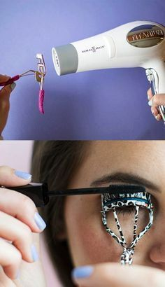 15 Simple makeup tricks for the girls you prefer .- Girl warming an eyelash curler and sticking her eyelashes - Beauty Make-up, Beauty Care, Beauty Hacks, Makeup Tricks, Eyelash Curler, Tips Belleza, Gorgeous Makeup, Eye Make Up, Simple Makeup