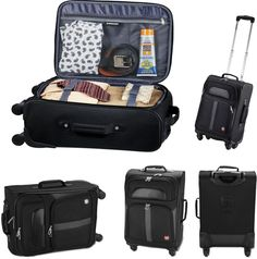 "New Wenger 4-Wheel Spinner 19"" Black Upright Carry-On Luggage Bag #Wenger"