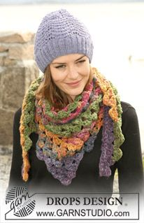 "Crochet DROPS shawl in ""Inka"" and knitted hat in ""Alpaca"" with wavepattern. ~ DROPS Design"