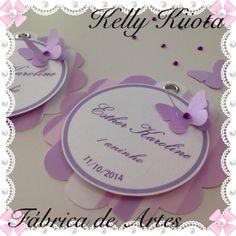 Tag personalizada Borboletas lilás e branco