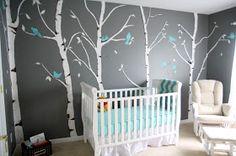 Decoración Ideal: Cuarto de bebe en gris y turquesa