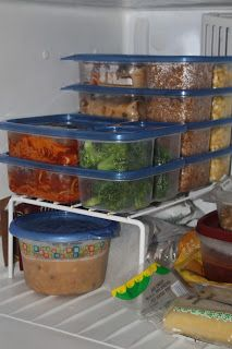Freezer meals stored in plastic containers already made ready for the microwave instead of slow cooker ! :)