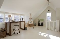 Creative space attic...Concord Green Home - beach style - home office - boston - by ZeroEnergy Design